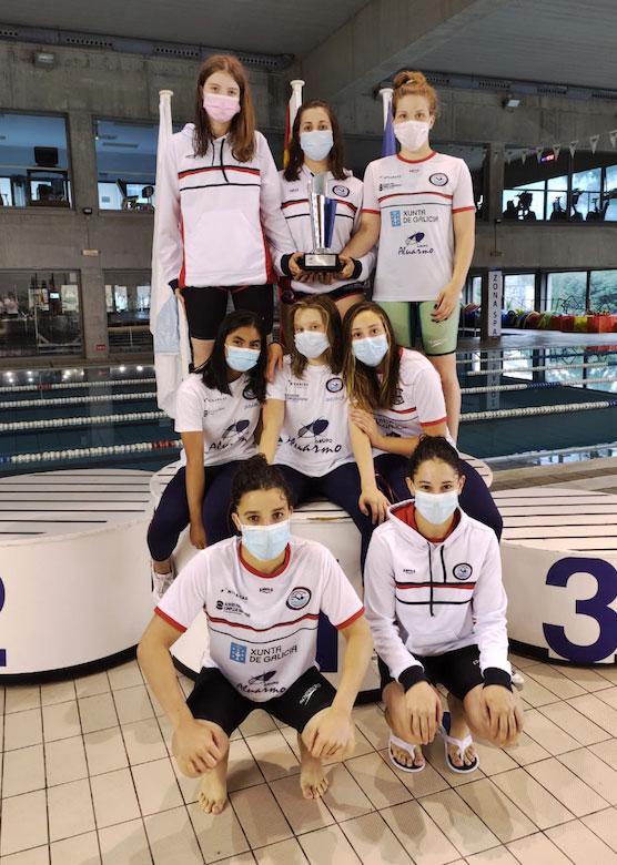 La selección femenina del CN Ponteareas, campeona de verano infantil de Galicia